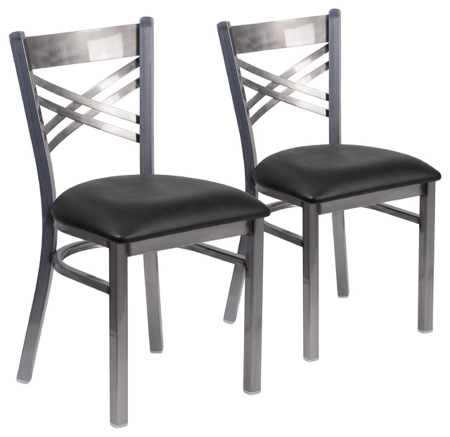Hercules Series Clear Coated X Back Metal Restaurant Chairs Set Of 2