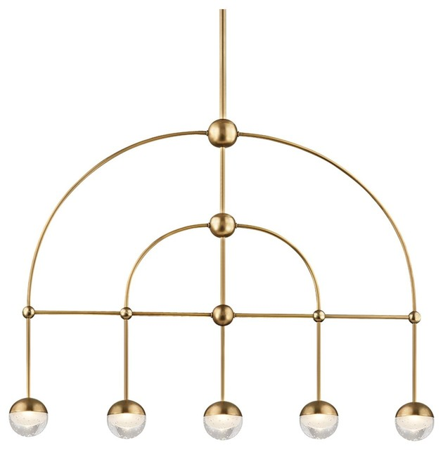 Boca 5 Light LED Island, Aged Brass Finish, Clear, Etched Glass