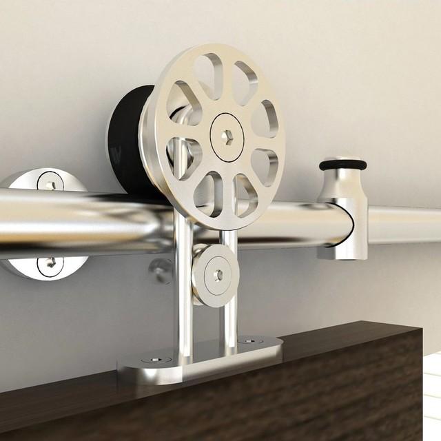 6.6' Wheel Design Single Stainless Steel Sliding Barn Door Hardware