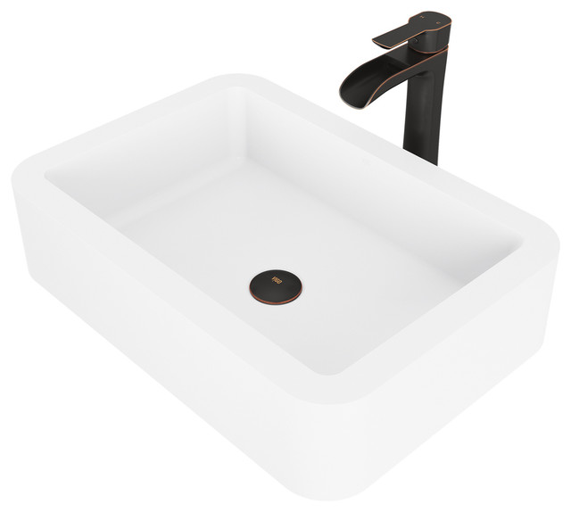 VIGO Navagio Matte Stone Vessel Sink and Niko Faucet Set, Antique Rubbed Bronze