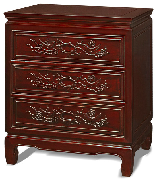 Rosewood flower and birds motif night stand asian for Japanese bedside table