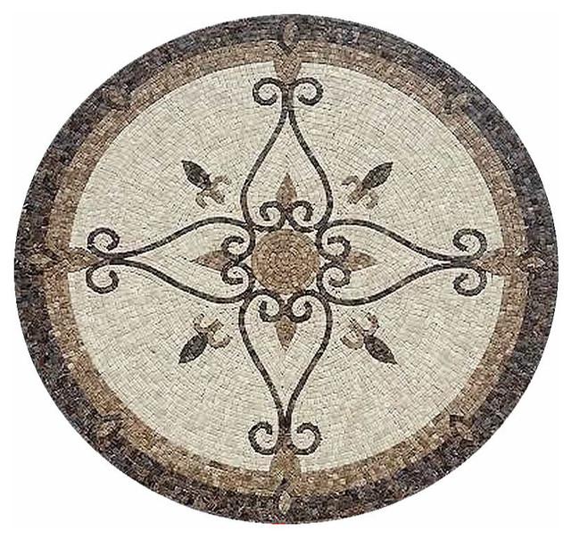 Floor Medallions Inlays : Medallions plus mosaic honed floor tile