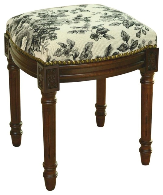 Vanity stool wood stain black toile traditional vanity stools and benches by euroluxhome - Black and white vanity stool ...