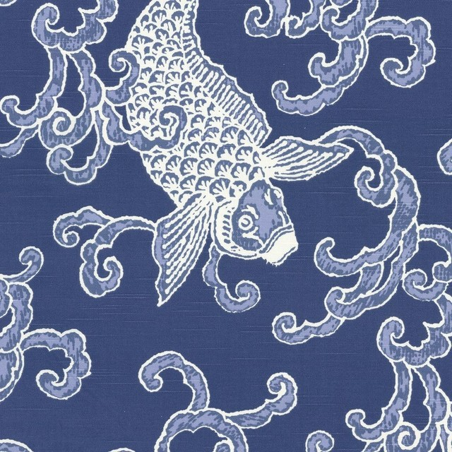 Porcelain Blue Koi Fish Fabric View In Your Room Houzz