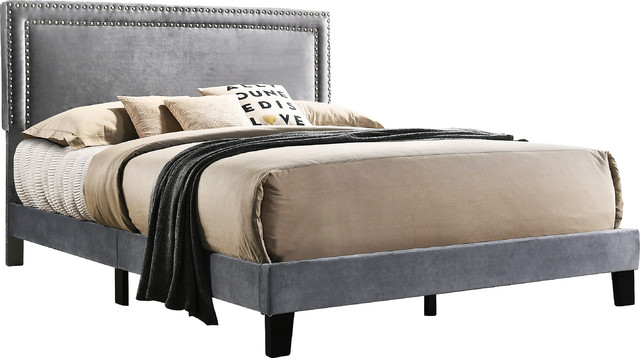 Riguad Velvet Upholstered Nailhead Panel Bed, Gray, Queen.
