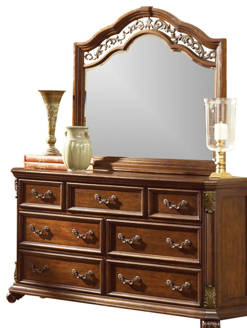 7-Drawer Dresser And Mirror Set With Solid Wood Construction, Cognac.