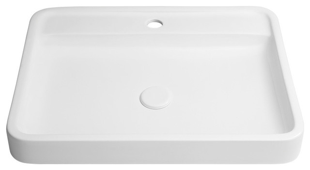 23 Poise Rectangular Ceramic Vessel Above Counter Without Overflow White Contemporary Bathroom Sinks By Ronbow Corp