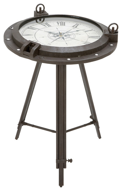 Porthole Metal Round Clock Table Beach Style Side Tables And End