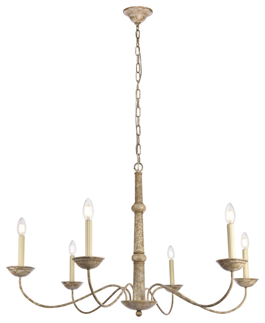 "Merritt Collection Chandelier 6-Light, Weathered Dove Finish, 39.8""x24"""