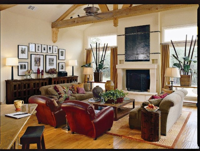 southwestern living room decor southern living idea home tropical family room 14770
