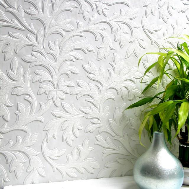 Anaglypta High Leaf Paintable Textured Vinyl Wallpaper, Bolt. -1