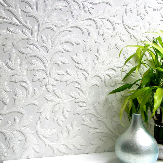 Anaglypta High Leaf Paintable Textured Vinyl Wallpaper Bolt