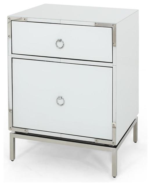 new style 3e385 c0f44 GDF Studio Danea White Glass 2 Drawer Bedside Table