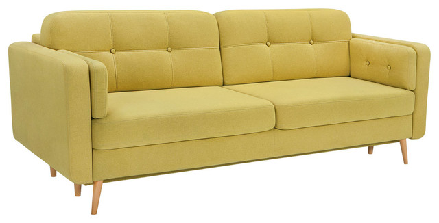 Cornet Lux 3DL Sofa Bed With Storage From EU in Yellow midcentury-sleeper- sofas