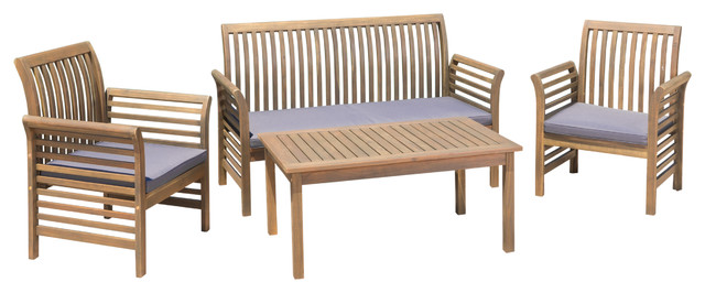 Desmond Outdoor 4-Piece Finished Acacia Wood Chat Set, Water Resistant Cushions.