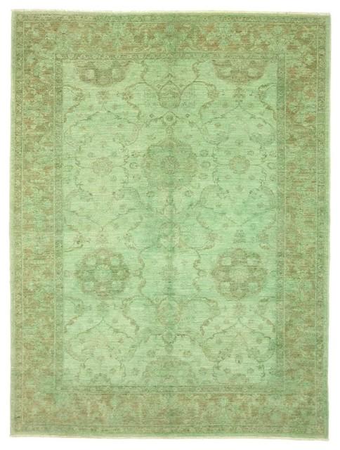 Colored Ziegler Rug, Oriental Carpet, Pakistan Hand-Knotted Designer, 233x172 cm