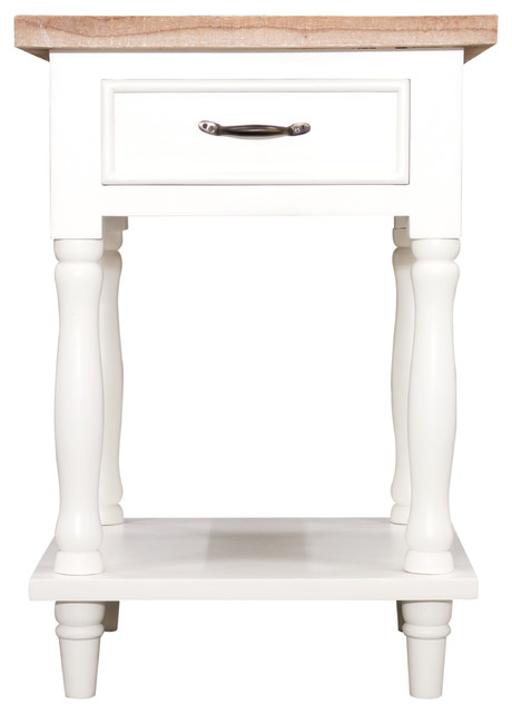 Bb design cottonwood tall side table with 1 drawer and 1 for Tall white end table