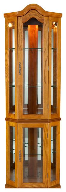 Riley Lighted Corner Curio Cabinet Golden Oak And