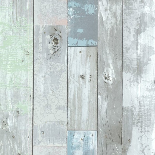 Brewster 2532-20416 Dean Blue Distressed Wood Panel Wallpaper.