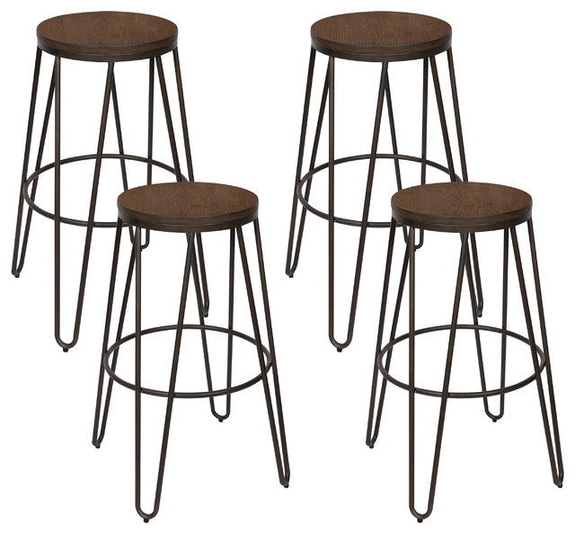 Stupendous Tully Backless 30 Bar Stools Set Of 4 Bronze Legs Wooden Seat Cjindustries Chair Design For Home Cjindustriesco