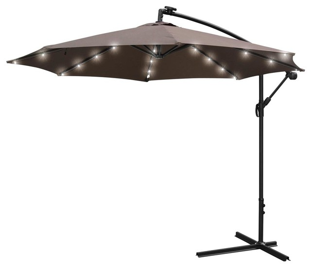 Blue Led Umbrella: 10' Roma Patio Offset Hanging Umbrella With LED Lights