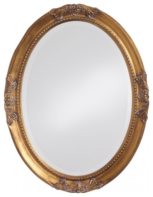 Queen Ann Glossy White Mirror, Antique Gold Leaf.