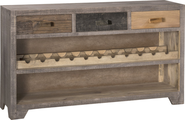Bolero Console Table With Wine Rack Sand Brushed Earth Tone