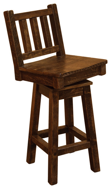 Surprising Rustic Barn Wood Style Timber Peg Bar Height Swivel Stool With Back Evergreenethics Interior Chair Design Evergreenethicsorg