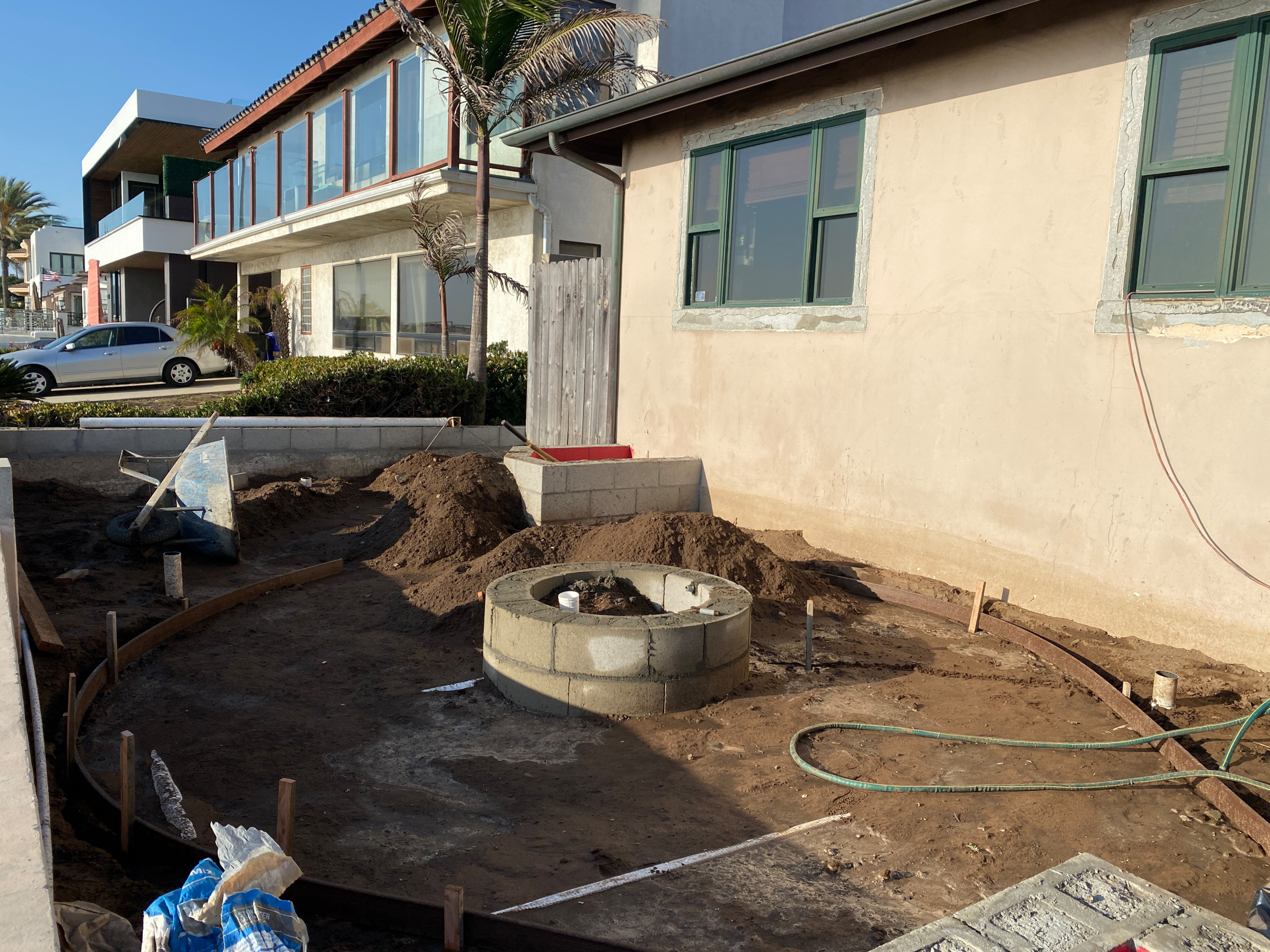Fire pit built and ready for concrete base in Pacific Beach
