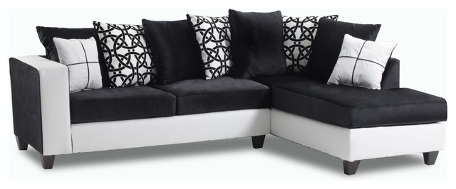 Brinley Sectional, Black And White.