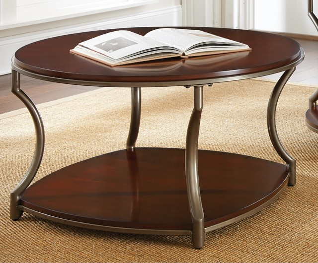 Morelia round coffee table contemporary coffee tables for Coffee tables overstock