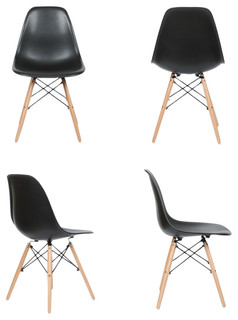 Midcentury Modern Natural Wood Leg Side Dining Chairs White, Set of 4