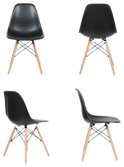 Lowe Midcentury Side Dining Chairs, Set of 4, Black