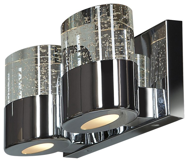 Bubbles Wall Sconce Lamp Chrome 2 Lights Contemporary Bathroom Vanity Lighting