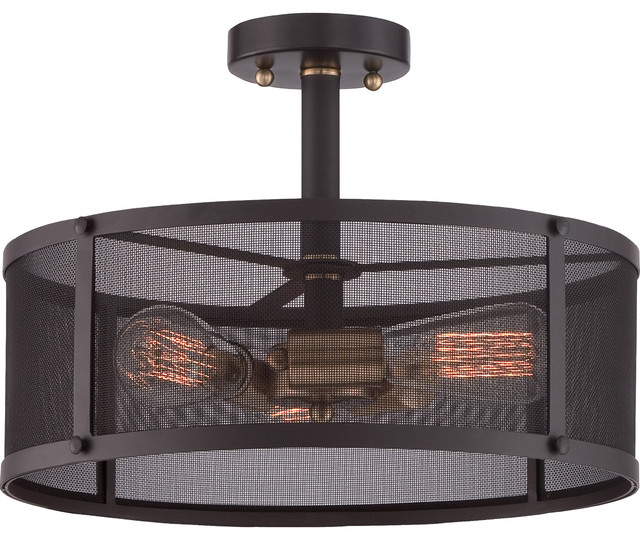 Cage Ceiling Lamp With Western Bronze Finish.