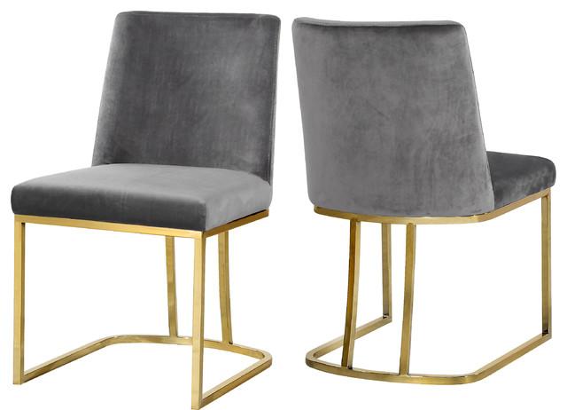 Heidi Velvet Dining Chairs, Set Of 2, Gray.