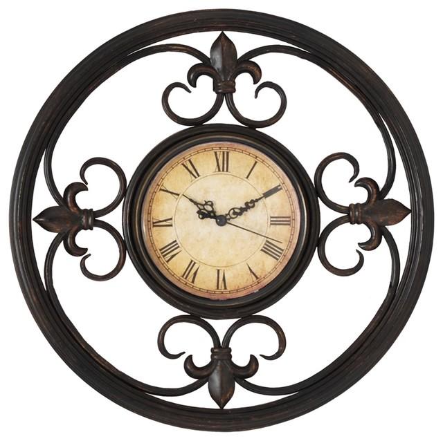"Traditional Antique Bronze Scrolls Metal 13"" Wide Wall Clock"