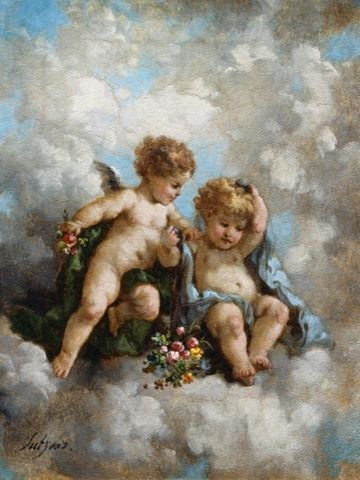 Fine Art Murals Cherubs In The Clouds By Charles Augustus Henry Lutyens    24 In Contemporary Part 93