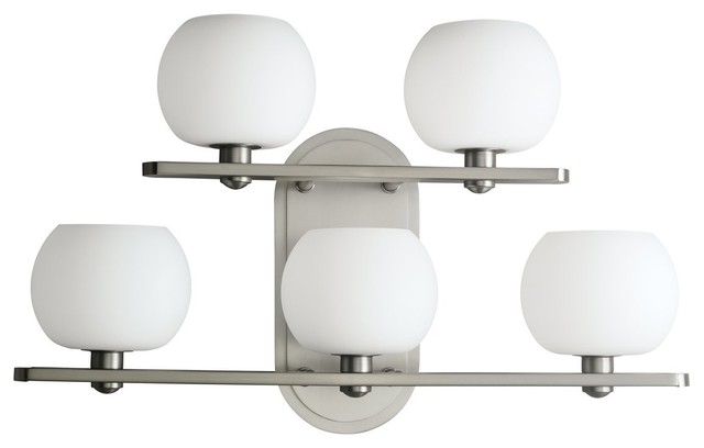 Brushed Nickel 4 Light Bathroom Vanity Wall Lighting Bath: Kichler Brushed Nickel And Opal Glass 5-Light Bath Wall