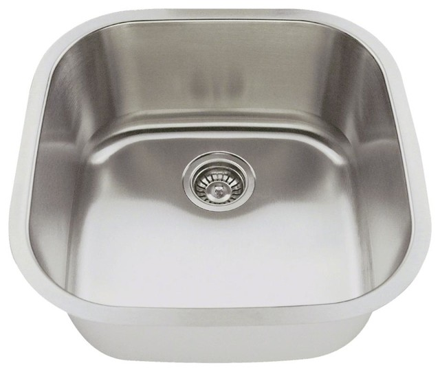Single Bowl Stainless Steel Bar Sink, 18 Gauge, Sink Only