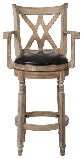Voisin Chocolate Brown Leather Swivel Barstool With Arms