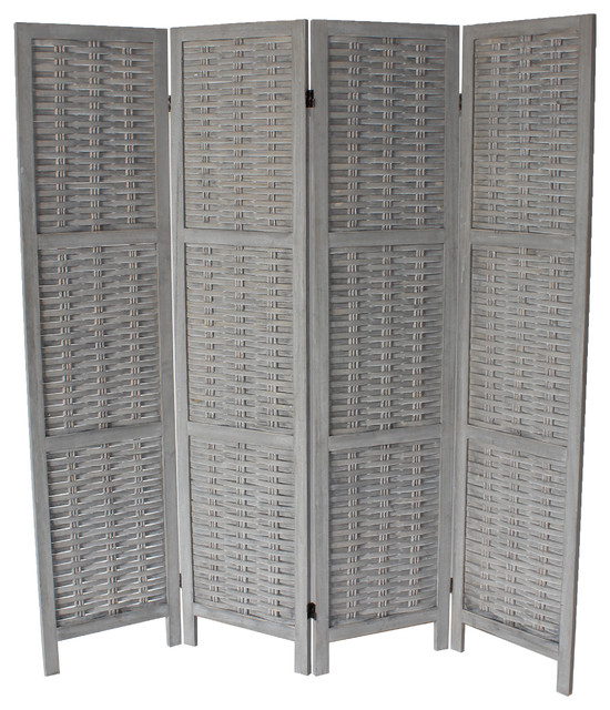 Cole 4-Panel Room Divider, Gray asian-screens-and-room- - Cole 4-Panel Room Divider, Black - Asian - Screens And Room