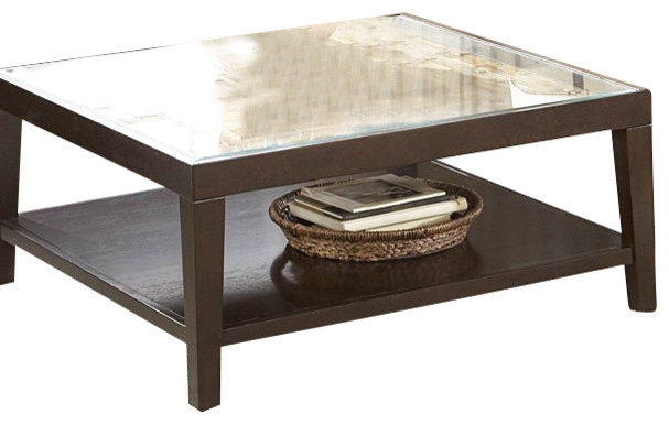Homelegance Vincent 3 Piece Coffee Table Set With Glass Overlay
