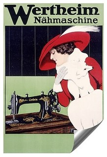 """Wertheim, Sewing Machine, Vintage Poster"" Contour Graphics Self-Adhesive - Midcentury - Metal ..."