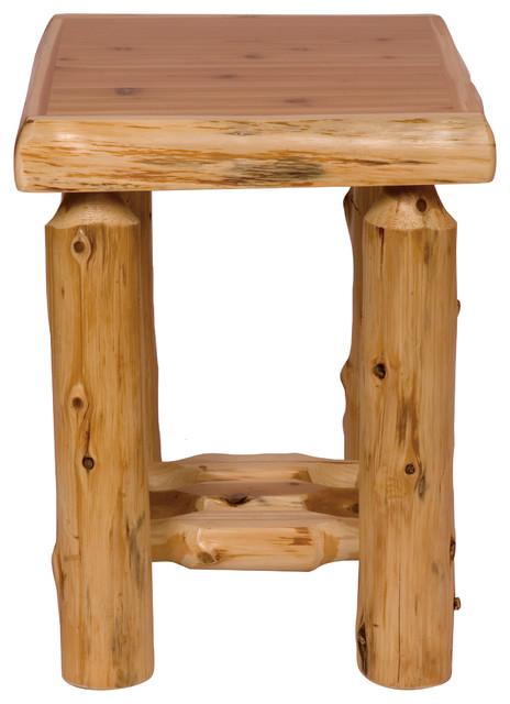 Rustic Wood Bedside Table: Cedar Open Nightstand, Traditional Cedar