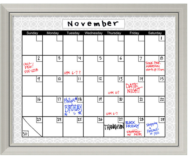 medallion gray dry erase board calendar framed art print 32x26 contemporary