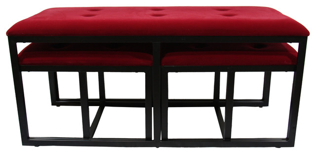 """20.5"""" Tall Metal Storage Bench With 2 Additional Seating, Black And Red Finish."""