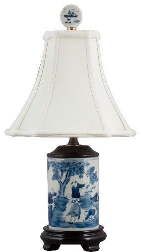 Small Blue And White Vase Lamp Asian Table Lamps By Shan Hill