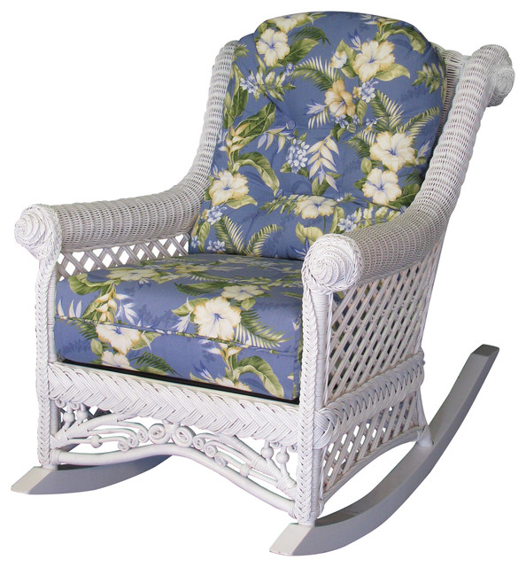 Gazebo Rocker, White, Esprit Robins Fabric by Spice Islands Wicker