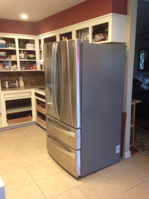 ... you add to side of refrigerator - pathway from kitchen to living room
